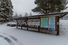 Pinboard on a snowy rest area near Filipstad. Pinboard on a snowy rest area near Nykroppa in Filipstad Royalty Free Stock Photos