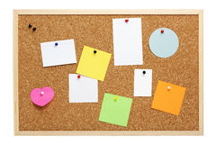 Pinboard with various blank notes and cards. Cork pinboard with wooden frame, various blank notice papers attached, isolated with clipping path Stock Photography