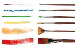 Pincéis com cursos da escova Fotografia de Stock