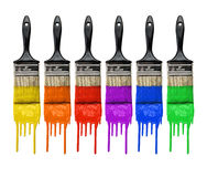 Pincéis com pintura Foto de Stock