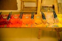 Pincéis e cores Foto de Stock Royalty Free