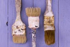 Pincéis usados Fotografia de Stock
