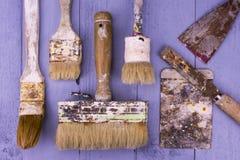 Pincéis usados Imagem de Stock Royalty Free