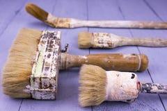 Pincéis usados Fotos de Stock Royalty Free