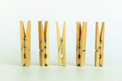 Pince à linge en bois de Brown, trombone Image stock