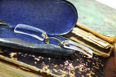 Pince-nez im metallischen Fall Lizenzfreie Stockfotos