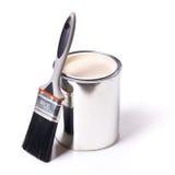 Pinceau et boîte en fer blanc Image libre de droits