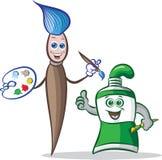 Pinceau et mascottes de tube de peinture Illustration Libre de Droits