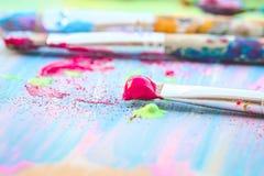 Pinceaux colorés Photographie stock