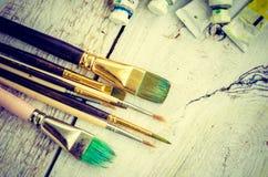 Pinceaux d'artiste Photographie stock