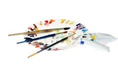 Pinceaux et palette Photos libres de droits