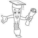Pincel da coloração com chapéu da graduação ilustração royalty free