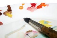 Pincel e paleta Foto de Stock Royalty Free