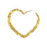 Pincelada dourada sob a forma do coração Textura brilhante do brilho Imagens de Stock
