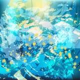 Pinceladas caóticas do fundo abstrato em tons azuis ilustração do vetor