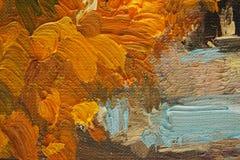 Pinceladas coloreadas en petróleo en lona Fotografía de archivo libre de regalías