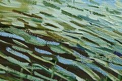 Pinceladas coloridas da pintura de óleo verde e marrom na lona abstraia o fundo Imagens de Stock