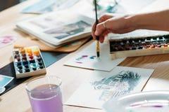 Pinceladas de las ilustraciones de la acuarela de la inspiración del artista imágenes de archivo libres de regalías