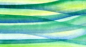 Pinceladas do verde da aquarela, as amarelas e as azuis foto de stock royalty free
