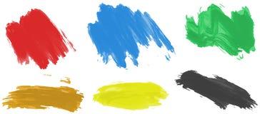 Pinceladas para a pintura acrílica em seis cores ilustração do vetor