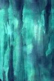 Pinceladas verdes e azuis da aquarela Fotos de Stock