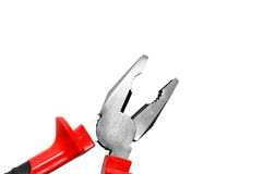Pincer. With red handle,isolated Royalty Free Stock Photo