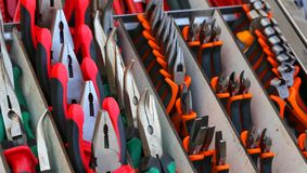 Pincers and cutters for sale in hardware store Royalty Free Stock Photo