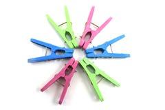Pinces à linge colorées Photos stock