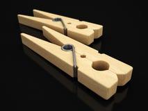 pinces à linge 3d en bois Images libres de droits