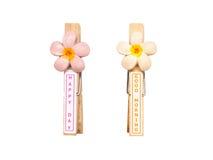 Pinces à linge en bois avec la fleur et les mots, d'isolement sur le dos de blanc Photographie stock libre de droits