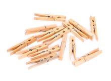 Pinces à linge en bois naturelles Photographie stock