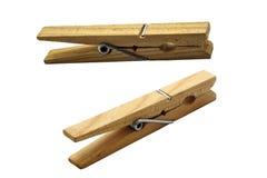 Pinces à linge en bois réglées Image stock
