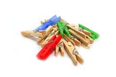 Pinces à linge multicolores Image libre de droits