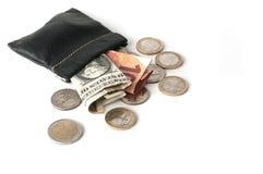 Pincez avec des billets de banque d'euro et de dollar avec quelques pièces de monnaie Photographie stock libre de droits