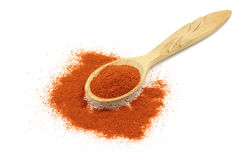 Pinch of red chili pepper in a wooden spoon Royalty Free Stock Photo