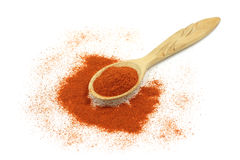 A pinch of red pepper in a wooden spoon Stock Photos