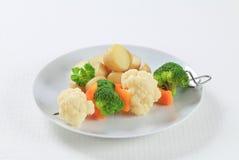 Pincho y patatas vegetales Foto de archivo