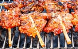 Pinchos asados a la parrilla del pollo en una estufa caliente Foto de archivo libre de regalías