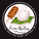 Pinchos asados a la parrilla tailandeses del cerdo con arroz pegajoso stock de ilustración