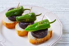 Pinchos Burgos morcilla with padron pepper Stock Photo