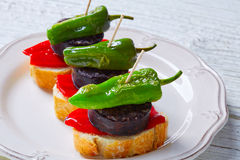 Pinchos Burgos morcilla with padron pepper Royalty Free Stock Images