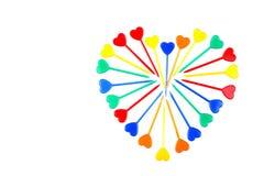 Pinchos con los corazones foto de archivo libre de regalías