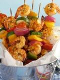 Pinchos de Kebab del camarón Imagen de archivo libre de regalías