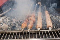 Pinchos de la carne que asan a la parrilla sobre los carbones calientes de la barbacoa Foto de archivo libre de regalías