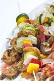 Pinchos del kebab del camarón Imagenes de archivo