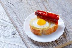 Pinchos pintxos chistorra with quail egg tapas Royalty Free Stock Image