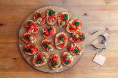 Pinchos, tapas, canapes espagnols, repas sur le pouce de partie Photo stock