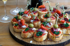 Pinchos, tapas, spanish canapes, party finger food. Pintxos, tapas, spanish canapes party finger food Royalty Free Stock Image