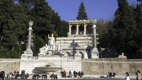 The Pincio. View of the Pincio side of the Piazza del Popolo in rome, with the fountains and the sculptures of the four seasons Stock Images