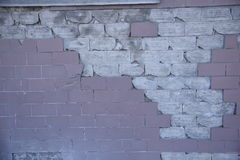 Pinck branco parede de tijolo quebrada Fotografia de Stock